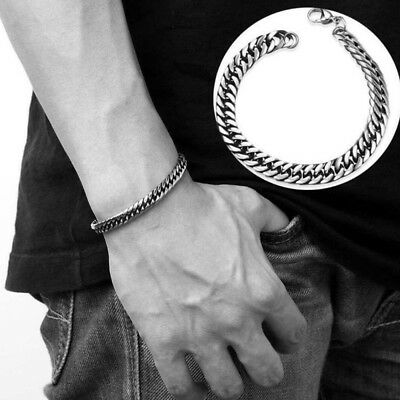 Biker Silver Stainless Steel Link Chain Men's Bracelet Cuff Bangle Wristband