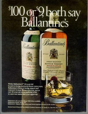 1982 Ballantine's Very Old Scotch Whisky 30 Year Finest Vintage Print Ad 80s