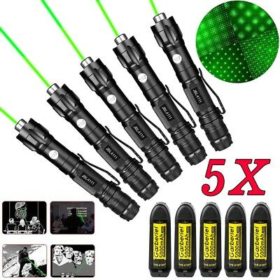 5PC 20Miles 532nm Green Laser Pointer Lazer Pen Visible Beam Light+18650+Charger