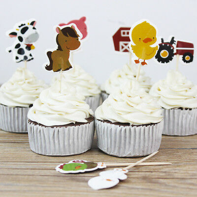 24Pcs/set Farm Animal Party Cupcake Toppers Picks Decor Birthday Party Favors