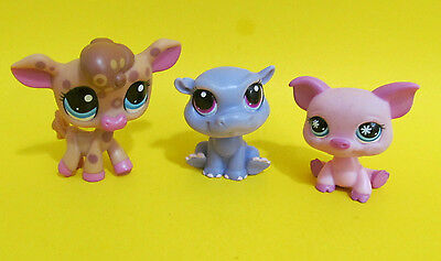 LPS Cow Pig Hippo Pink Brow Cow Sitting Pig Purple Hippo 3 pc animal lot