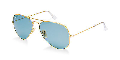 POLARIZED Limited Edition RAY-BAN Aviator Blue Large Metal RB 3025 001/3R 58 MM