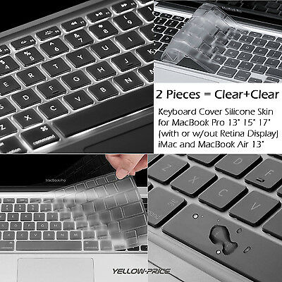 2XBlack Silicone Keyboard Cover Protector for MacBook Air Pro Retina Waterproof