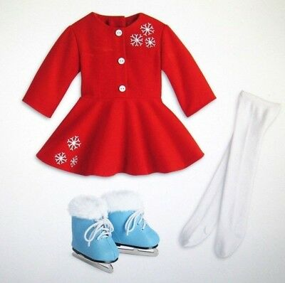 "American Girl Doll Mary Ellen Ice Skating Outfit Dress Skates Christmas 18"" NEW"