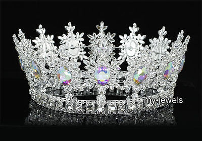 Men's Pageant Imperial Tiara Vollkreis Runde König Krone in AB Steine T1828