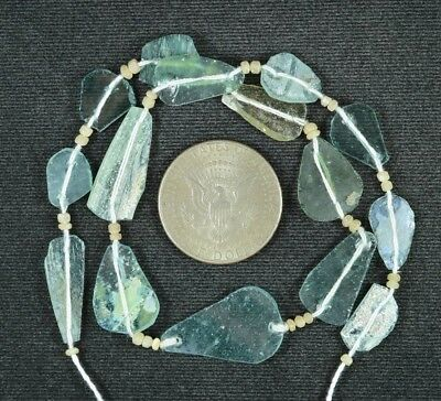 Ancient Roman Glass Beads 1 Medium Strand Aqua And Green 100 -200 Bc 784