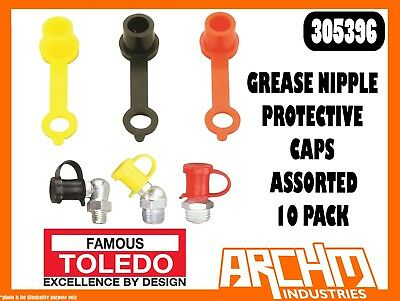Toledo 305396 - Grease Nipple Protective Caps - Assorted 10 Pack - Lubricating