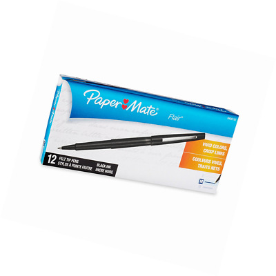 Paper Mate Point Guard Flair Needle Tip Stick Pen, Ink, 0.7mm, Pack of 12, Black