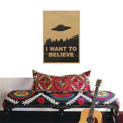 "Vogue Vintage Classic X FILES ""I Want To Believe"" Poster Home Decor Stickers Hot"
