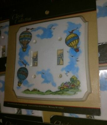 Lot Of 8 Double Light Switch Covers Hot Air Balloon Vintage American Tack New