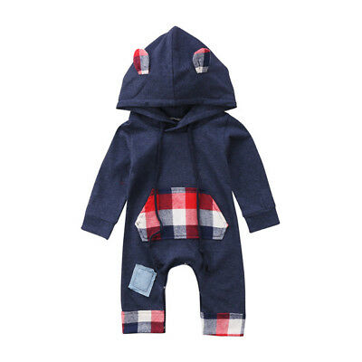 Newborn Baby Boy Grid Romper Jumpsuit Bodysuit Hooded Clothes Sweater Outfits