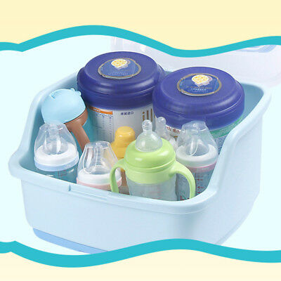 Blue PP+ABS Bottle rack and dishwasher storage box with waterproof lid NE4