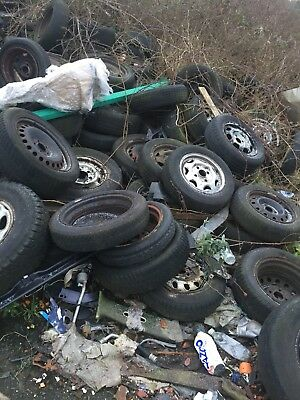 Scrap Tyres With Steel Wheels, Upcycling, Planters, Craft, Free To Collector