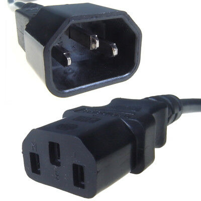 IEC Kettle Leads. 5A Rated. C13 C14 Extension. TV, A/V. Computer Power Lead Cord