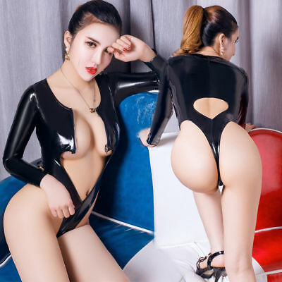 Langarm Body Wetlook Bodysuit Overall Catsuit Anzug Fetish PVC Leather Dessous