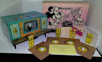 1950's DISNEY MOUSEKETEER TELEVISION PAPER SCROLL PICTURE TOY+TIN TV BASE+BOX+++