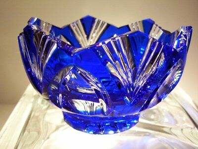 CAESAR CRYSTAL Blue Bowl Blown Cut to Clear Overlay Czech Bohemian Cased