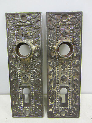 2 Antique M.W. Co. Eastlake Style Heavy Steel Door Backplates #1