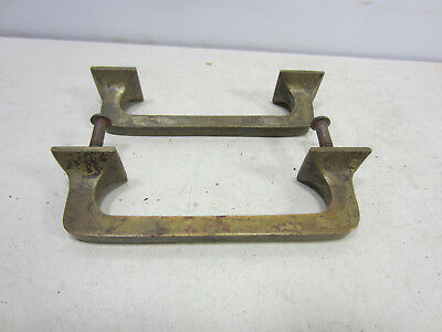 2 Vintage Heavy Brass File Cabinet Style Drawer Pulls  #538