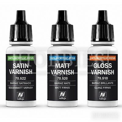 Vallejo Varnish Gloss Matt Satin Acrylic Resin Model Airbrush Paint 17ml Bottle