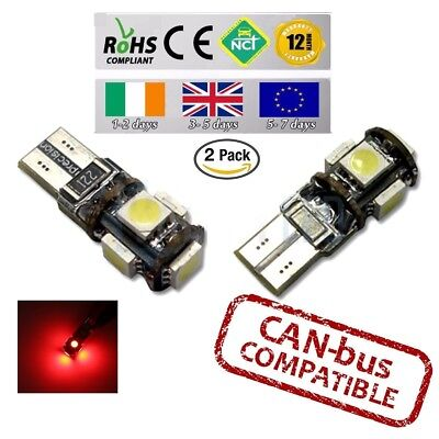 2x CanBus Red LED No Error HID T10 w5w 501 194 Parking Side Lights Bulbs