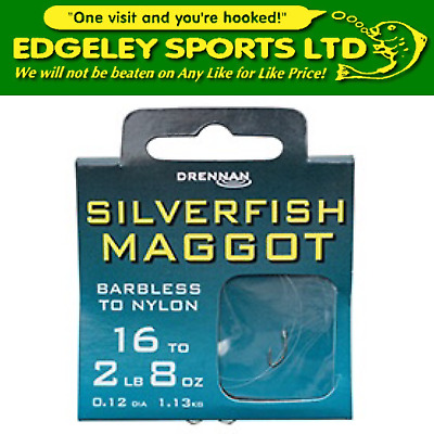 Drennan hooks to nylon barbless - silverfish maggot