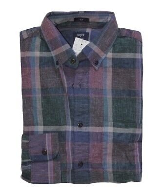 J Crew Factory - Men's XL - Slim Fit - Hunter Green Tartan Plaid Homespun Shirt