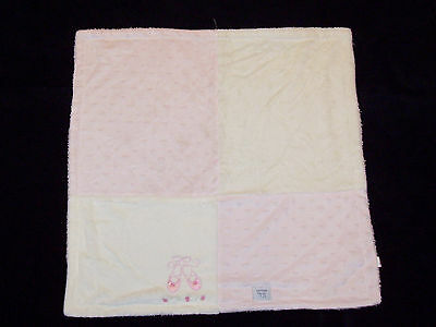 Kyle & and Deena Ballet Shoes Baby Blanket Cream Pink Minky Heart Sherpa Squares