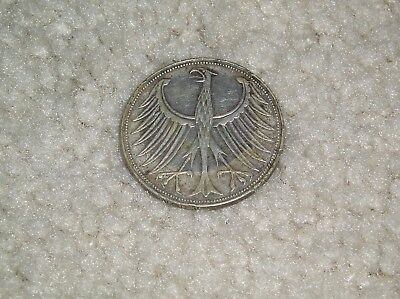Germany Silver 1965 D  5 Mark, AVG. CIRC.