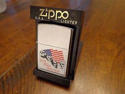 God Bless America Mount Rushmore American Flag Zippo Lighter Mint In Box 2001