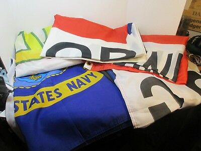 Grab Bag of 6 Flags / Banners 5'x3'  Assorted Navy, We Support....  Checkered