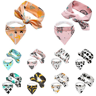 Baby Kids Headband Scarf 2-piece set Baby Bandage Neckerchief Hair Band Wrap Acc