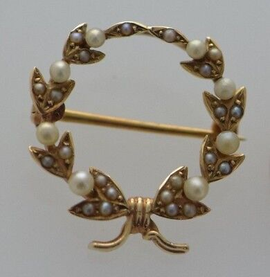 14K Yellow Gold Pearl Wreath Pin/Brooch, Vintage Circa 1920