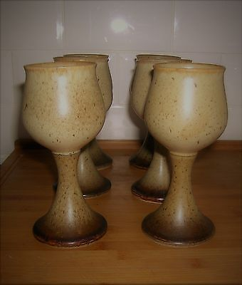 Vintage Set of Six Hand Crafted Iden Pottery Rye Sussex Medieval style Goblets