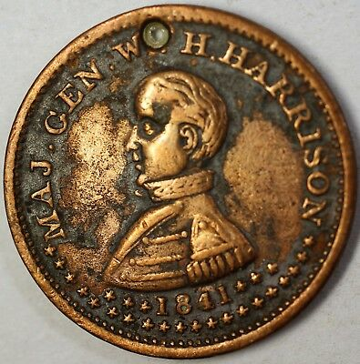 General William Henry Harrison Poltical Campaign Medal Holed Extra Fine