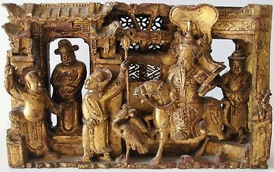 Antique Chinese Carved Wood Panel 19th Century