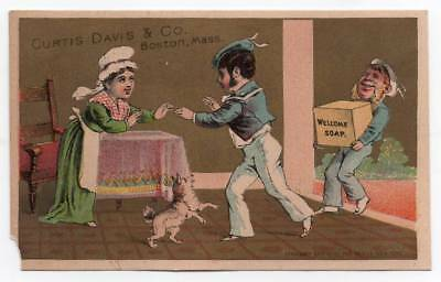 Advertising trade card  Curtis Davis Welcome Soap  Sailor carries case of soap