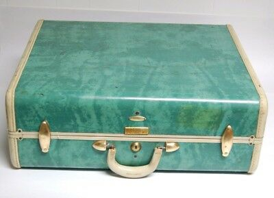 Vintage Samsonite Green Marble and White Suitcase - travel decoration luggage