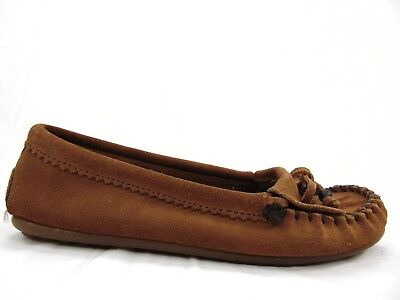 4adbc6e3027 MINNETONKA WOMENS MOCCASINS Brown Tan Suede Leather Kiltie Tassels Flats  SIZE 8