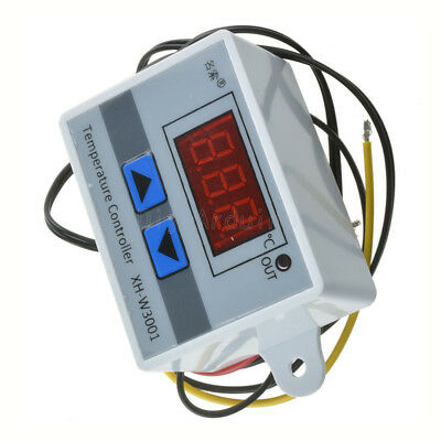 White DC 12V Digital LED Temperature Controller 10A Thermostat Switch Probe
