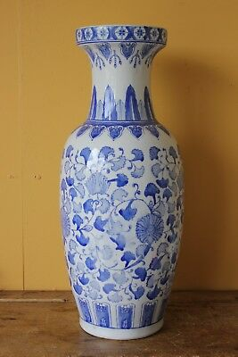 Large Oriental, Chinese Vase. Blue & White. 64.5cm high.