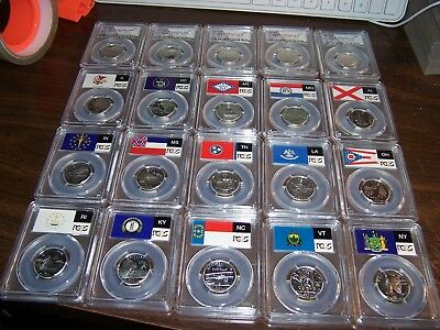 ( Lot Of20 ) Pcgs Pr 69Dcam 25C Silver Coins-Flag&park Label- Coins Shown Box #3