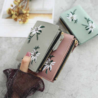 Women Lady Wallet PU Leather Print Flower Cash Pocket Photo Clutch Short Purse