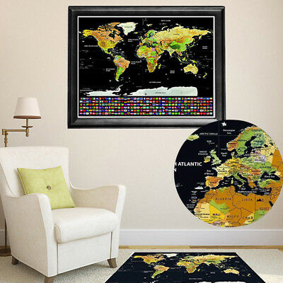 Luxury Large Scratch Off World Map Personalized Travel Poster Travel Atlas Decor