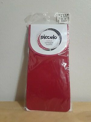 BRAND NEW Piccolo Girls Opaque Tights RED Style #311 (Size 12/14)