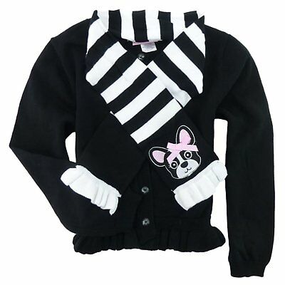 Fleurish Girl Little Girls Cotton Cardigan Sweater with Puppy Dog Scarf 7/8