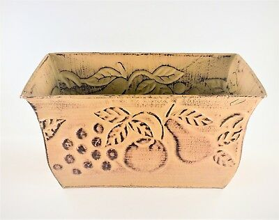 Metal Planter Rustic Tan with Fruit Design 11 Inch