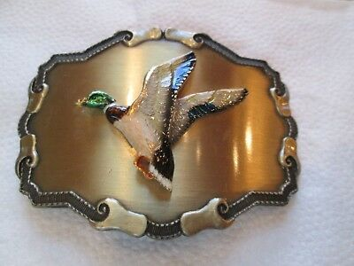Mallard Duck Enameled Belt Buckle, 1977 or 1978 Raintree, excellent condition