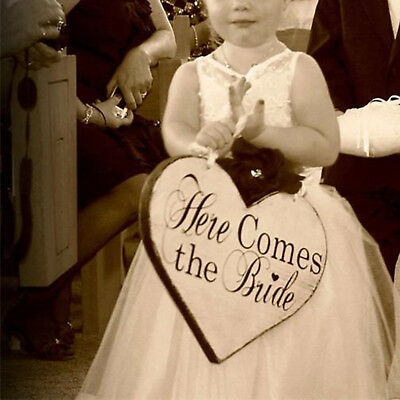 """Wedding Ceremony Board """"Here Comes the Bride' Letter Sign Two Side White Hanging"""