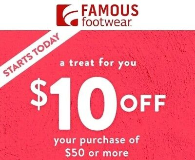 Famous Footwear $10 OFF $50 C0UPON CODE PROMO DISCOUNT EMAILED FAST EXP 12/31/19